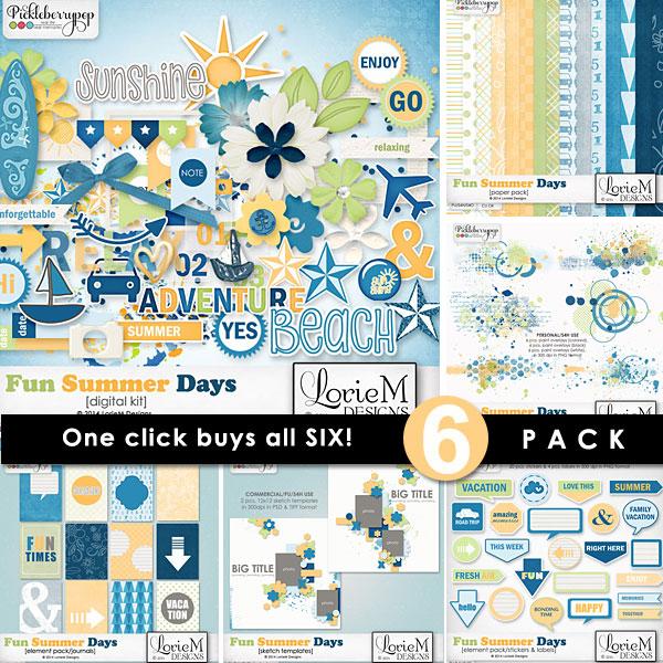 Fun Summer Days ~ 6-Pack plus FWP by LorieM Designs