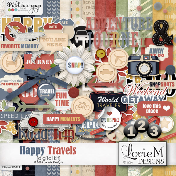 Happy Travels Kit + FWP (Wordart Pack)