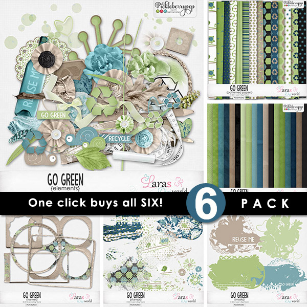 Go Green ~ 6-Pack with FWP by Lara's Digi World
