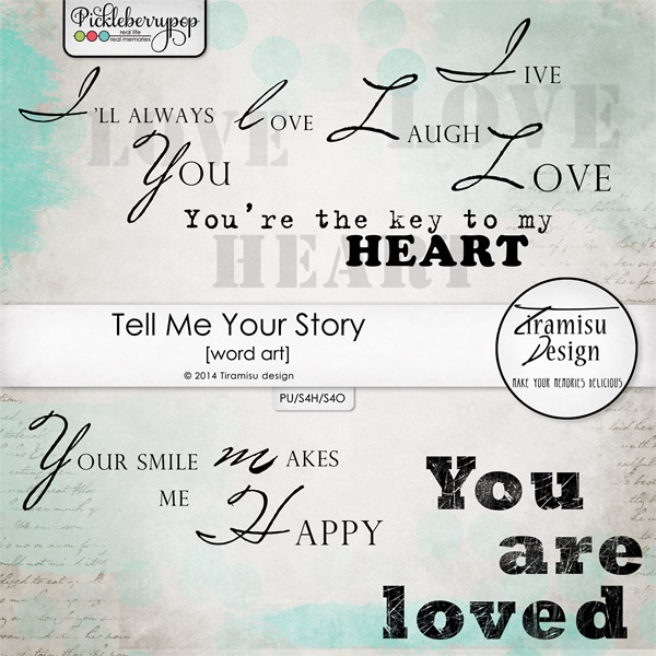 Tell Me Your Story Word Art pack by Tiramisu design